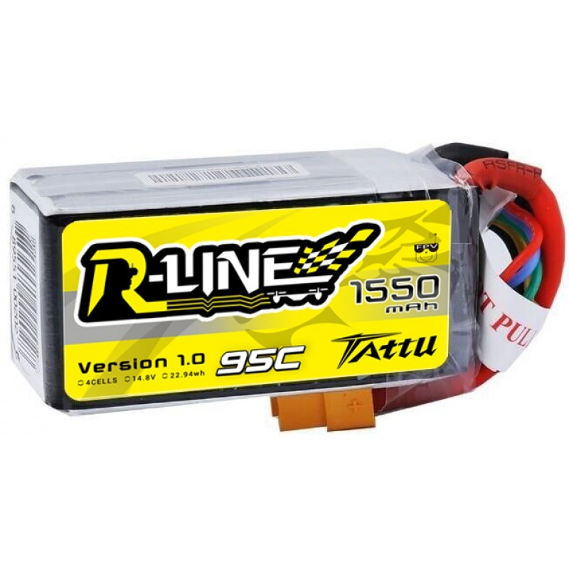 Gens Ace Tattu R-Line 1550mAh 14.8V 4S 95C Lipo Battery