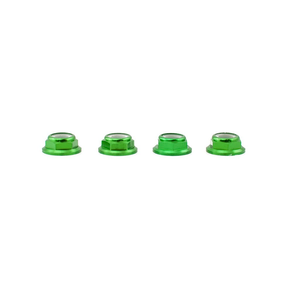 Lumenier M5 Green Aluminum Low Profile Lock Nut Set Of 4 CCW