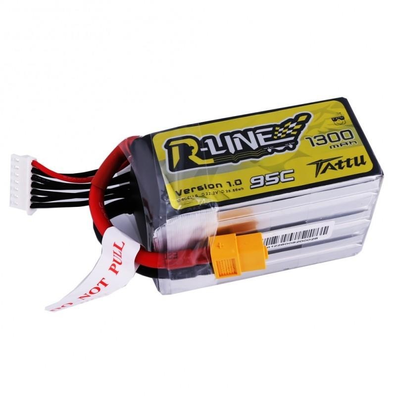 Tattu R-Line 1300mAh 95C Lipo Battery 22.2V 6S