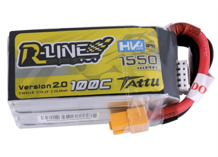 Tattu R-Line 1550mAh 14.8V 4S 100C High Voltage Lipo Battery Pack
